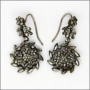 Victorian Cut Steel Flower Drop Earrings - Original Hooks