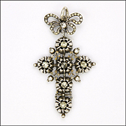 French Victorian Silver Pastes Cross Pendant with Bow Top