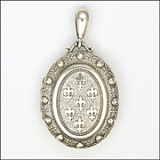 Victorian English 1884 Sterling Silver Fleur de Lis Locket