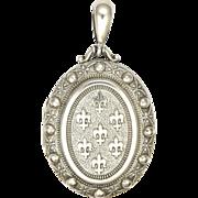 Victorian English 1884 Sterling Silver Fleur de Lis Locket