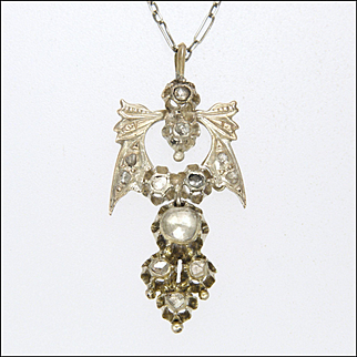 Georgian Diamonds on Sterling Silver Bow Pendant with Chain