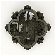 Victorian Whitby Jet Whitby Abbey Carved Pin