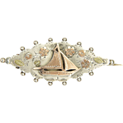 Victorian 1896 Sterling Silver withg Gold Overlay Yacht PIn