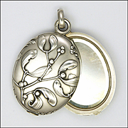 French Art Nouveau Silver Mistletoe Mirror Slide Pendant
