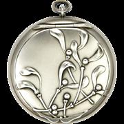 French Art Nouveau Silver Mistletoe Compact Pendant