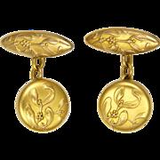 French Art Nouveau Gold Filled Mistletoe Cufflinks - FIX