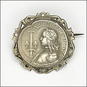 French Antique Silver Joan of Arc Pin - A BARGAS
