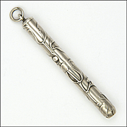 French Art Nouveau Silver Mistletoe Propelling Pencil Pendant