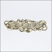French Art Nouveau Silver Baby Mistletoe Pin