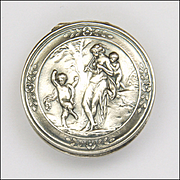French Antique Silver Woodland Scene Pill Box