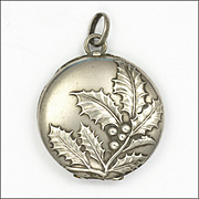 French Art Nouveau Silver Holly Motif Locket