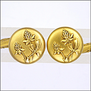 French Art Nouveau Gold Filled 'FIX' Thistle Cufflinks