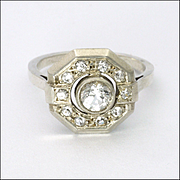 French Art Deco Silver and Pastes Ring
