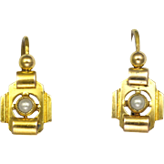French Art Deco Gold Filled 'ORIA' Earrings with Pearls