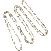 """French Antique Long Guard Chain with Floral Motifs - 52"""" - 23.1 grams"""