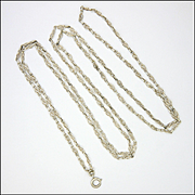 "French Antique Silver Decorative Guard Chain - 54"" - 23.1grams"