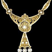Norwegian DAVID-ANDERSEN Gold Washed Silver Enamel Necklace -Old Mark