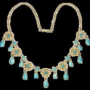 MARIUS HAMMER Norway Antique Silver Enamel Drop Necklace