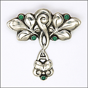 Danish HOLGER FISCHER Skonvirke 830 Silver and Chrysoprase Brooch