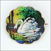 MARIUS HAMMER Norway Antique 930 Silver Enamel Swan Brooch