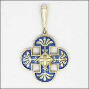 DAVID-ANDERSEN Silver Enamel Cross Pendant - Old Mark