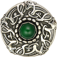 Danish 900 Silver and Chrysoprase Agate Mythical Creatures Brooch - RBH