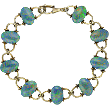 European Arts and Crafts Opal Doublets on Silver Gilt Bracelet