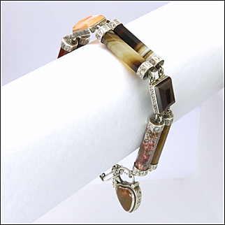 Victorian Scottish Silver Agate Cylinder Bracelet with Heart Clasp