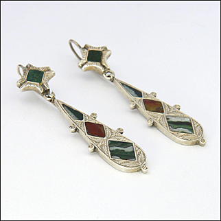 Scottish Victorian Sterling Silver and Agates Long Drop Earrings