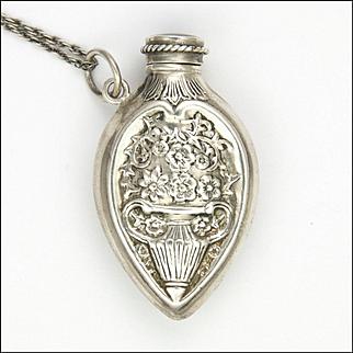 European Antique Repoussé Silver Perfume Flacon Pendant