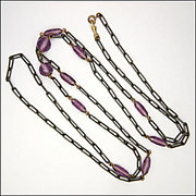 """Victorian Gunmetal and Amethyst Glass Beads Guard Chain - 60"""""""