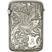 French Art Nouveau Silver Plated Griffin Vesta or Match Safe