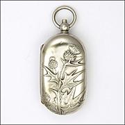 French Art Nouveau Thistle Coin Case Pendant