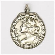 European Art Nouveau Silver Lady Pendant