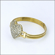 Antique 9K Gold and Diamond Chips Heart Ring