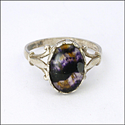 English Arts and Crafts Blue John and Sterling Silver Ring