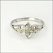 9K White Gold with Spinel Gemstone Chips Ring