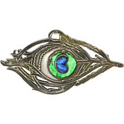 French Arts and Crafts Silver on Copper Peacock's Eye Pin