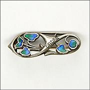 Art Nouveau Silver and Enamel Pin - LIBERTY