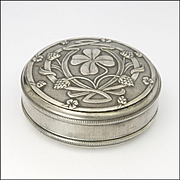French Art Nouveau Silver Plated Clover Trinket Box