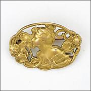 French Art Nouveau 18K Gold Filled Lady  Pin - TITRE FIXE