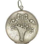 French Antique Silver Basket of Flowers Locket