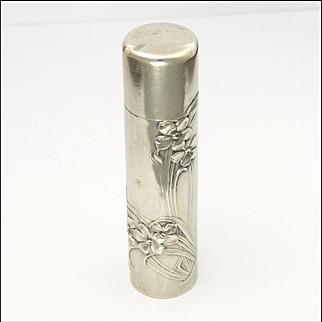 Art Nouveau 800 Silver Violets Perfume Bottle or Flask