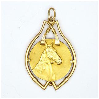 Antique 18K Gold Horse's Heads Pendant