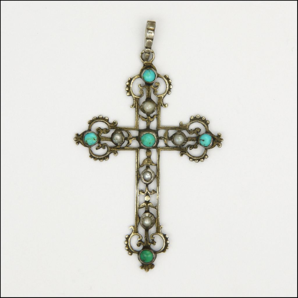 Austro-Hungarian 19C Turquoise & Pearl Cross Pendant