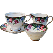 Paragon Sweet Pea Cup Saucer Creamer and Sugar