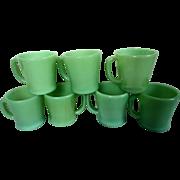 Fire King Jadite Oven Ware D Handle Coffee Mugs