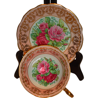 EB Foley Signed Cabbage Rose Cup & Saucer