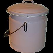 Vintage Pink Enamelware Covered Pot