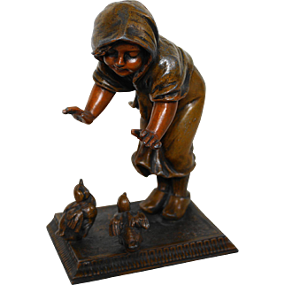 Bronzed Spelter Fabrication Francaise Girl With Birds